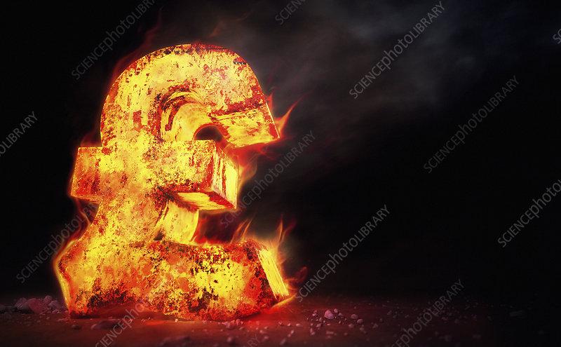 Red hot burning metal pound sign, illustration