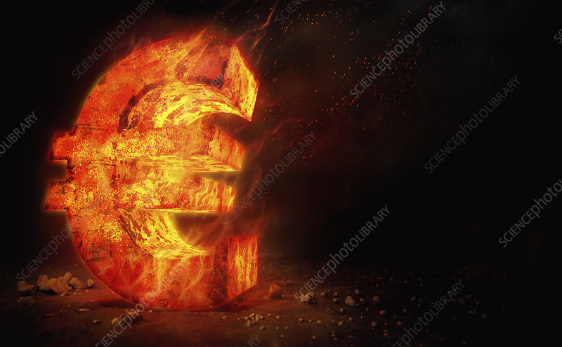Red hot burning metal euro sign, illustration