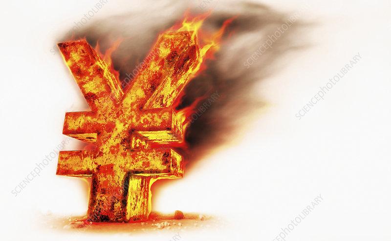 Red hot burning metal yen sign, illustration