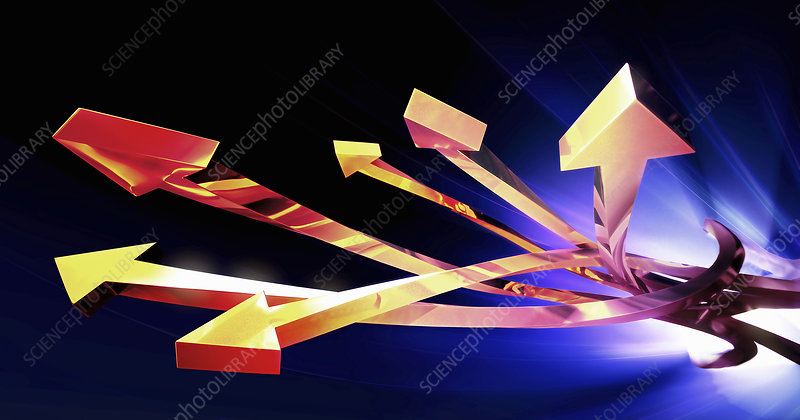 Intertwined gold arrows, illustration