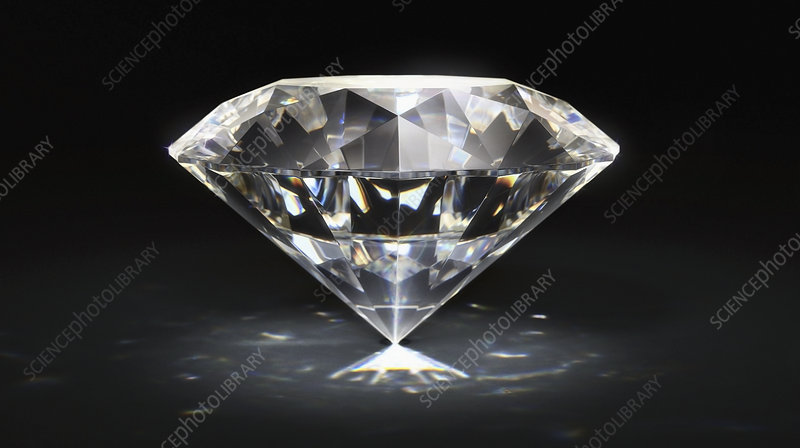 Single diamond on black background, illustration