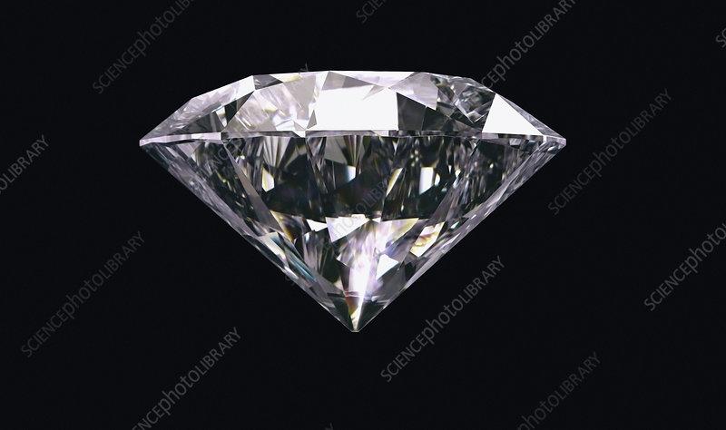 Single diamond on black background, illustration