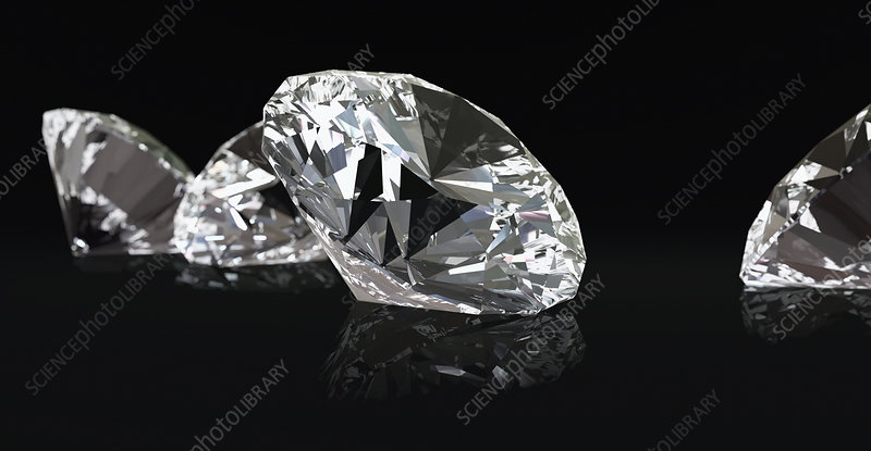 Four diamonds on black background, illustration