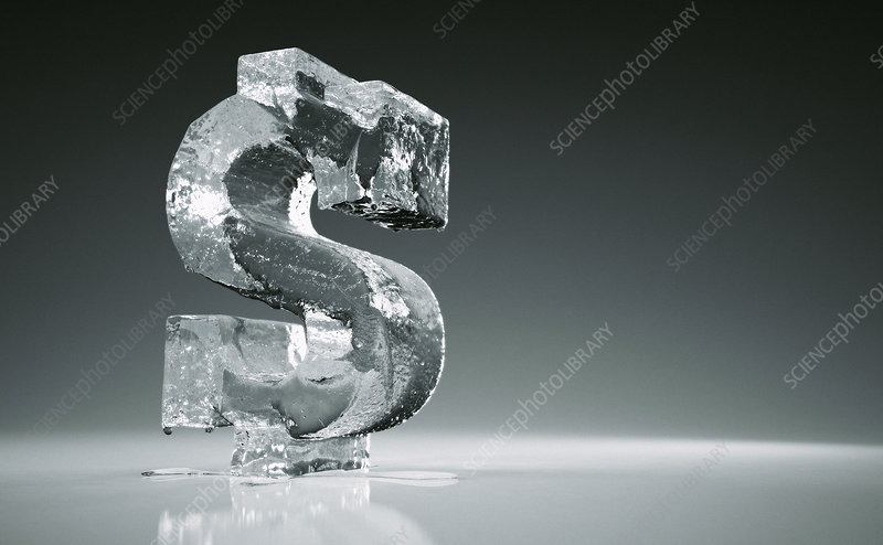 Melting frozen dollar sign, illustration