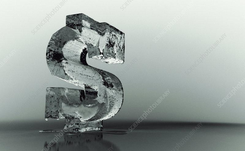 Melting frozen dollar sign, illustration