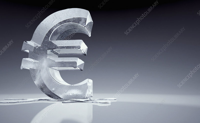 Melting frozen euro sign, illustration