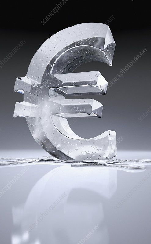 Melting frozen euro sign, illustration