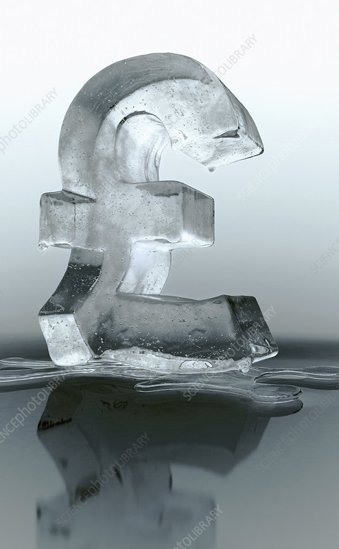 Melting frozen British pound sign, illustration