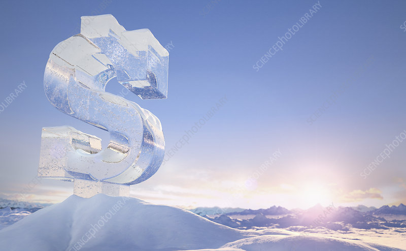 Frozen dollar sign on top of mountain, illustration