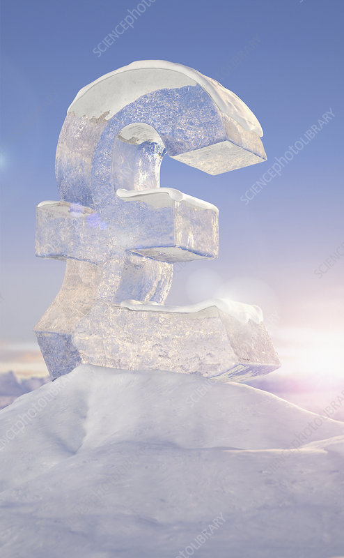 Frozen British pound sign on top of mountain, illustration