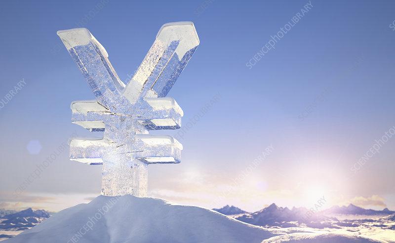 Frozen yen sign on top of mountain, illustration