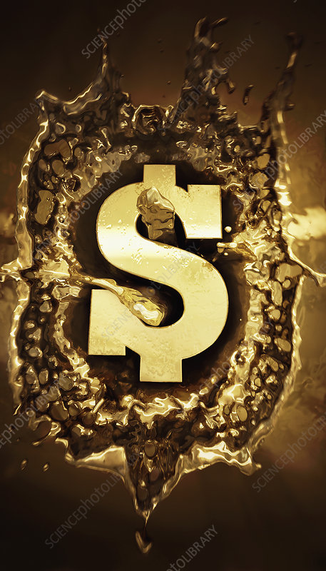 Gold dollar sign splashing in molten metal, illustration