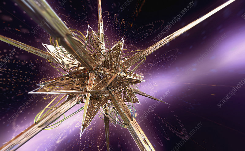 Complex abstract gold angular star shape, illustration