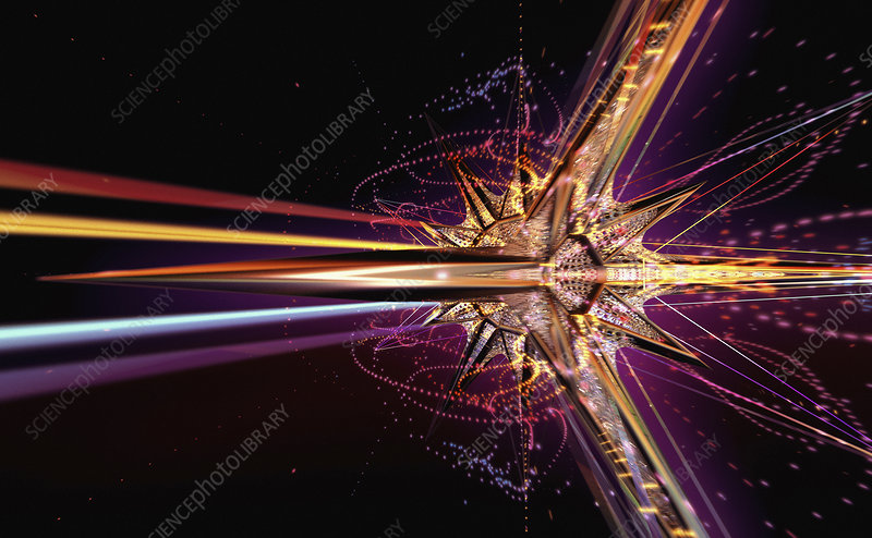 Abstract futuristic exploding star shape, illustration