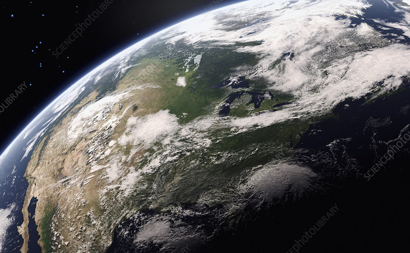 Great Lakes from space, illustration