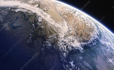Himalayas from space, illustration