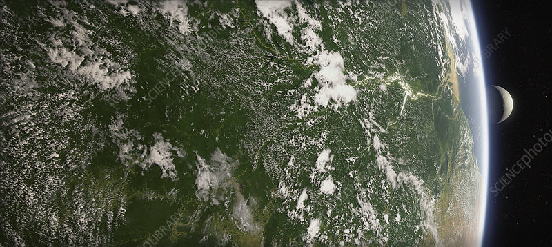Amazon Basin from space, illustration