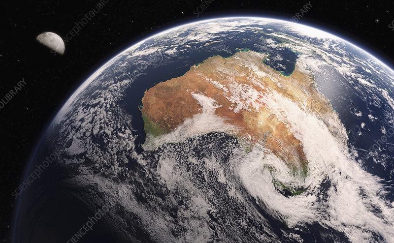 Australia from space, illustration