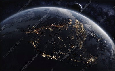 North America from space at night, illustration