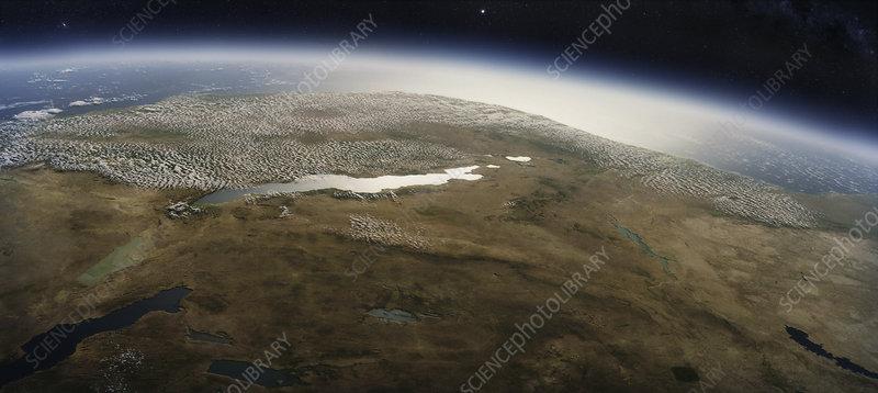 Lake Tanganyika from space, illustration