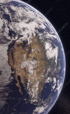 Western North America from space, illustration