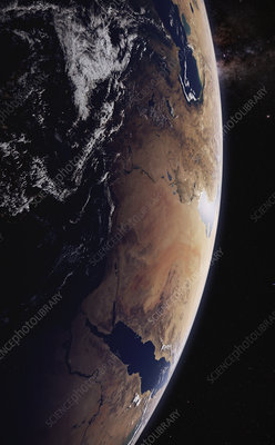 Arabian Peninsula from space, illustration