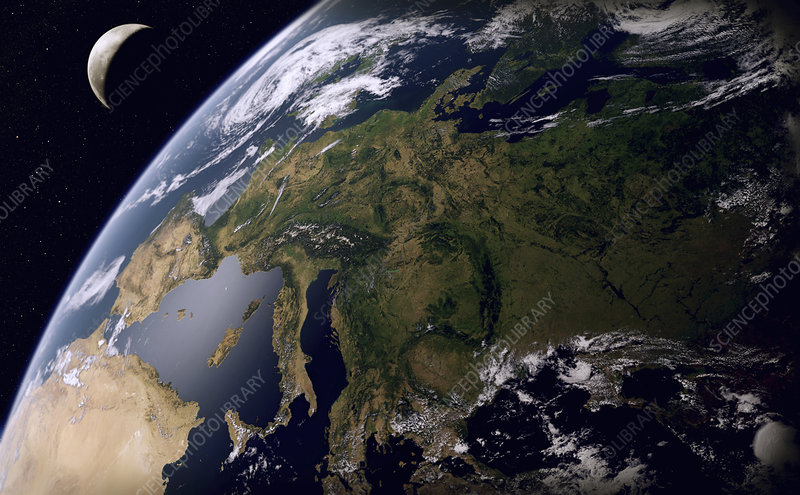 Europe from space, illustration