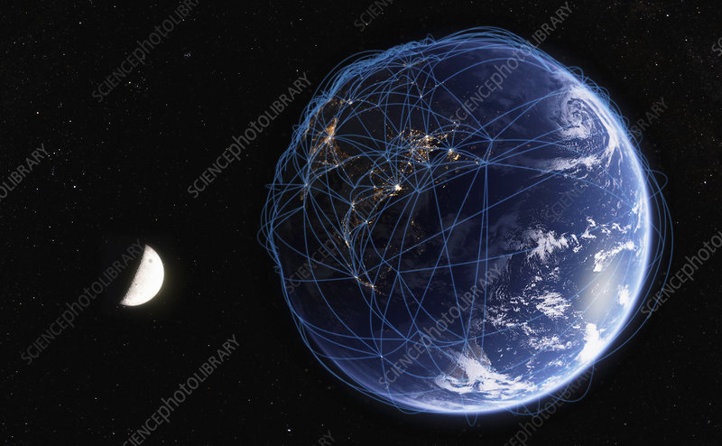 Global communications network from space, illustration
