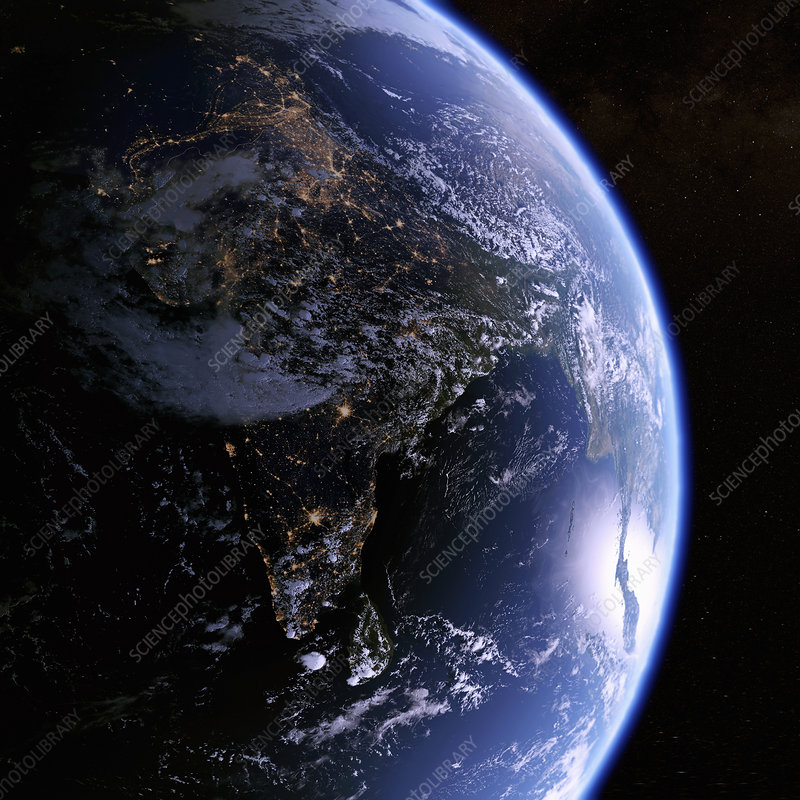 Earth from space showing India at night, illustration