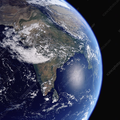Earth from space showing India, illustration
