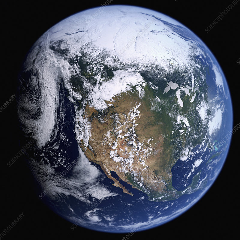 Earth from space showing the USA and Mexico, illustration