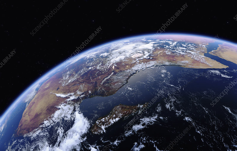 East Africa and the Indian Ocean from space, illustration