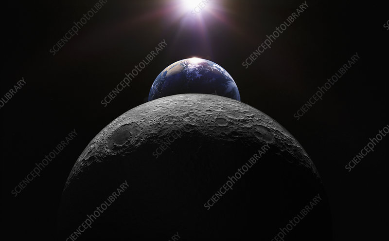 Earth between sun and moon from space, illustration