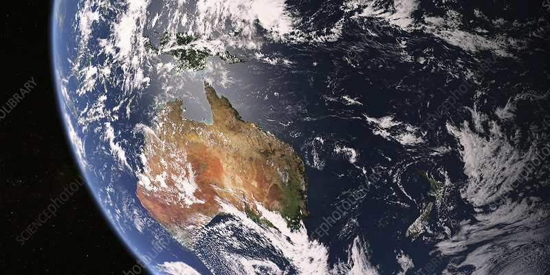 Australia and New Zealand from space, illustration