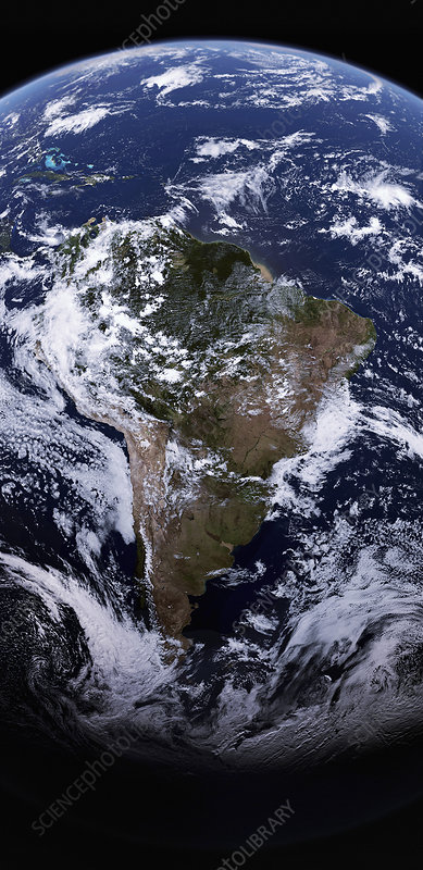 South America from space, illustration