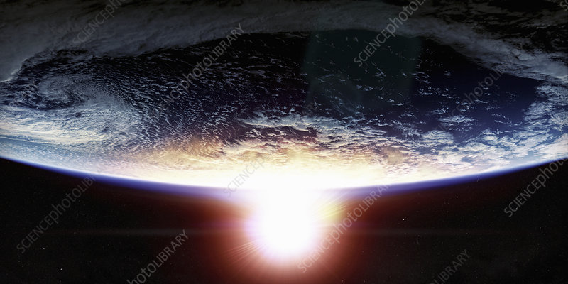 Sunset over planet earth from space, illustration