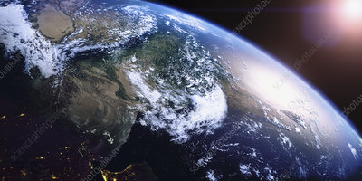 India, Pakistan and Persian Gulf from space, illustration