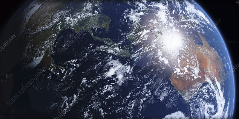 Southeast Asia and Australia from space, illustration
