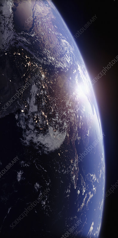 Sun rising over India from space, illustration