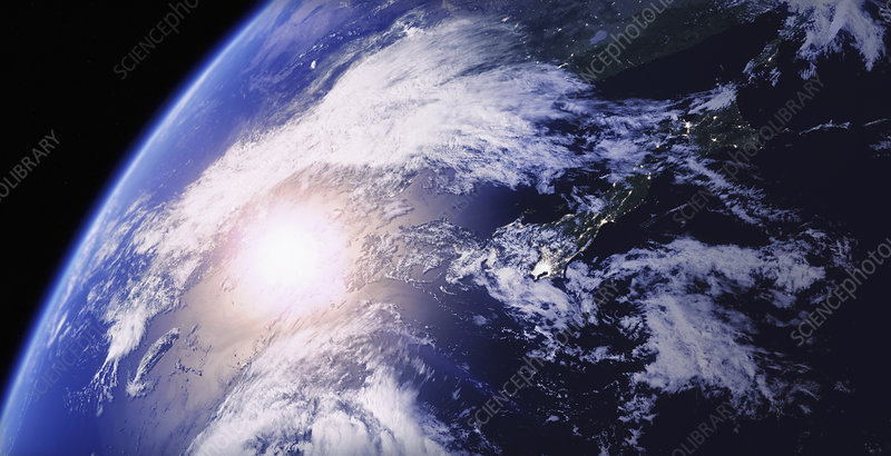Sun setting over Japan from space, illustration