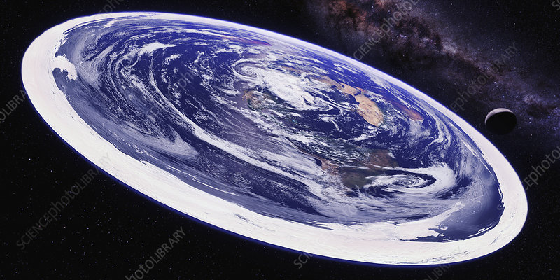 View of flat earth from space, illustration