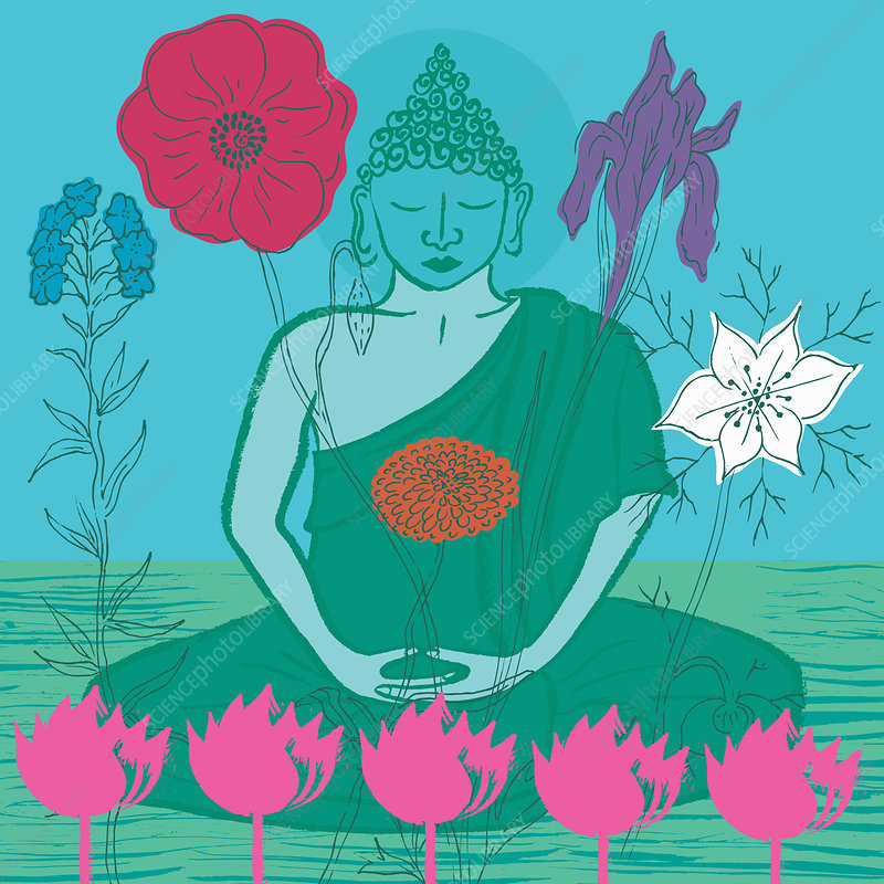 Buddha surrounded by flowers, illustration