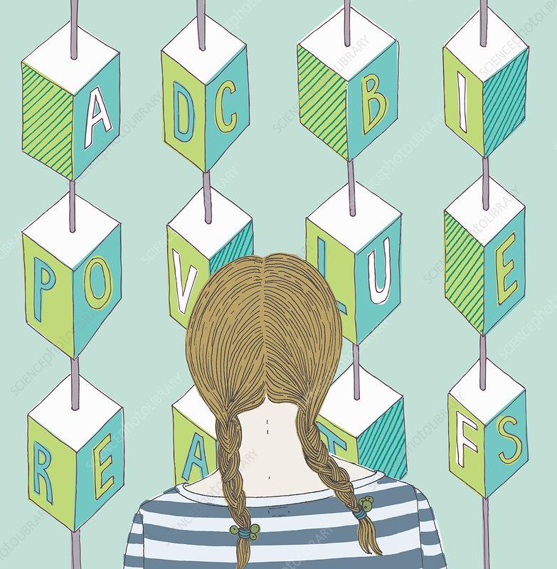 Girl looking at alphabet blocks, illustration