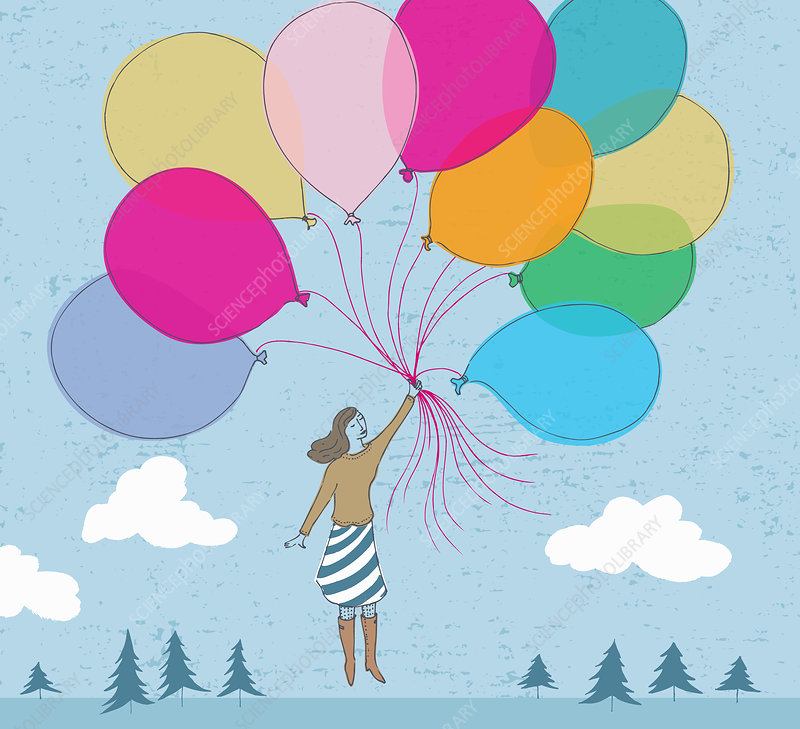 Floating woman holding bunch of balloons, illustration