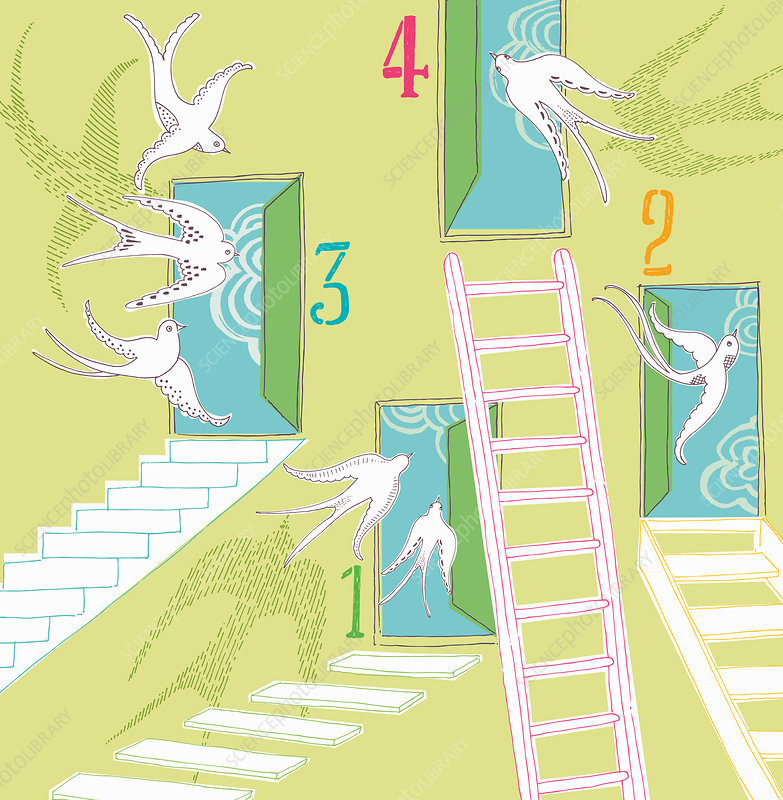Open numbered doors with ladders, illustration