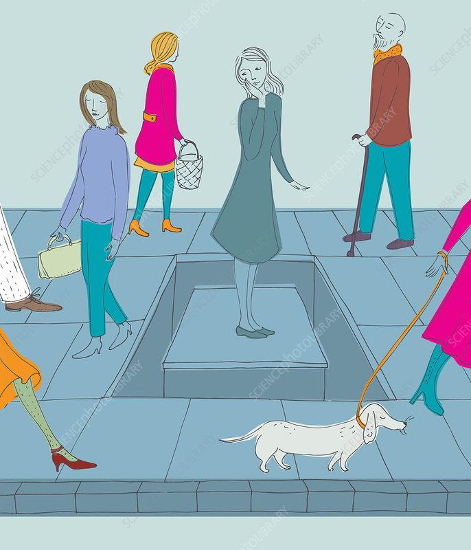 Woman isolated on paving stone on sidewalk, illustration