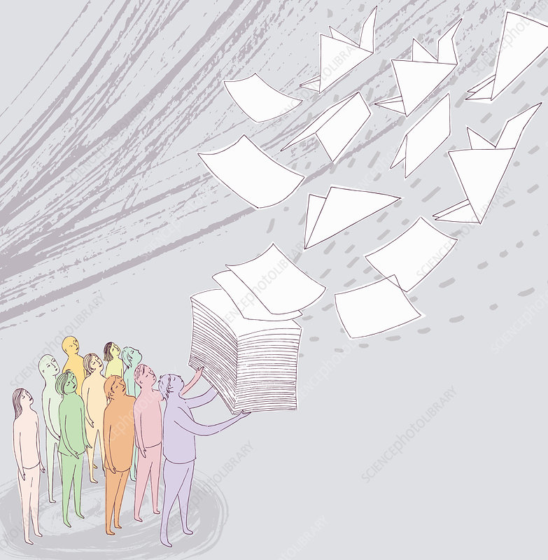 People watching paper becoming origami cranes, illustration