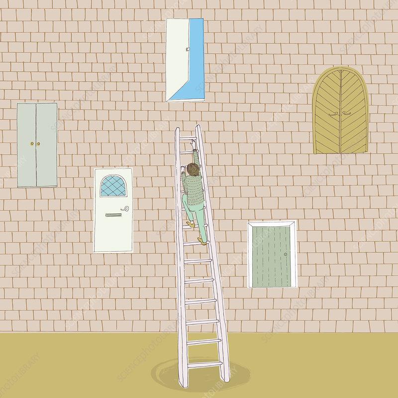 Man climbing ladder to open door, illustration
