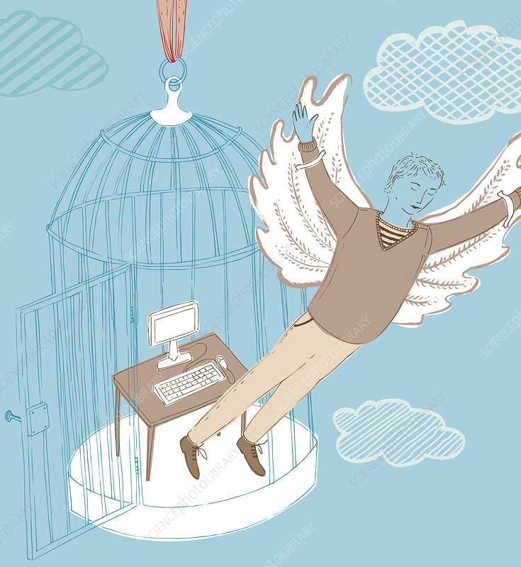 Businessman with wings escaping birdcage, illustration