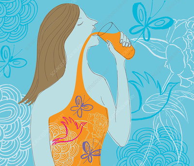 Woman drinking natural juice, illustration